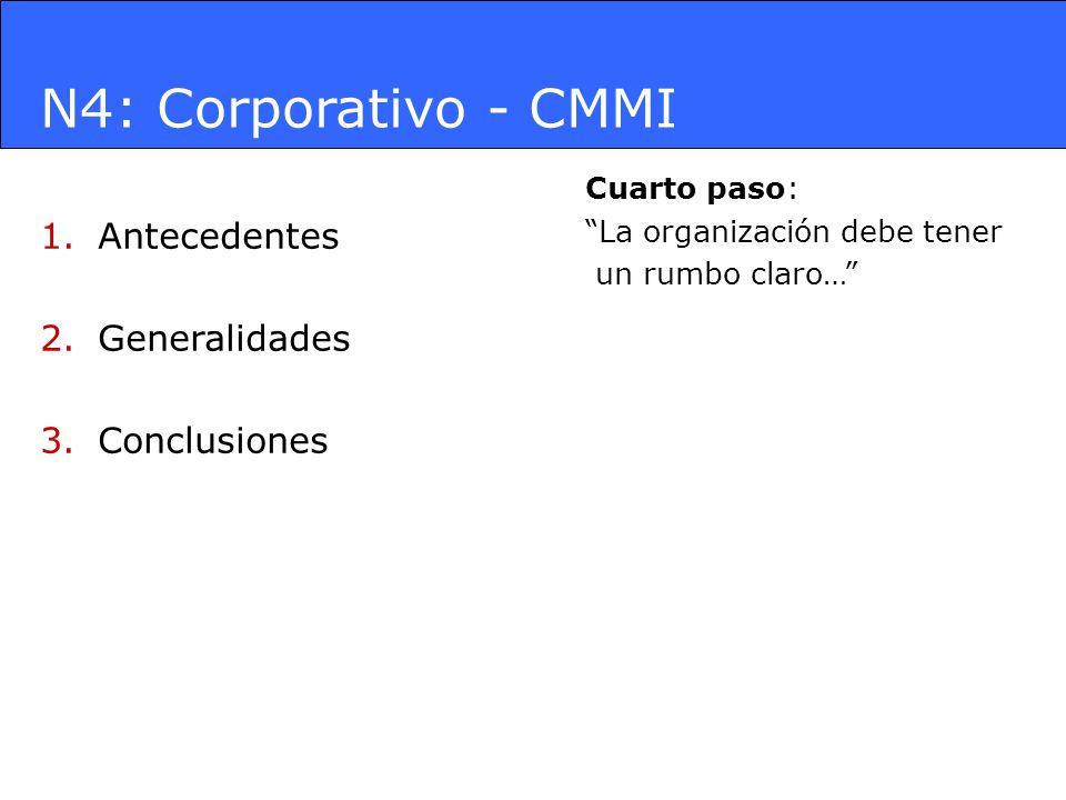 N4: Corporativo - CMMI 1.Antecedentes 2.Generalidades 3.Conclusiones Cuarto paso: La organización debe tener un rumbo claro…