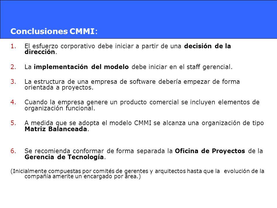 Conclusiones CMMI: 1.El esfuerzo corporativo debe iniciar a partir de una decisión de la dirección. 2.La implementación del modelo debe iniciar en el