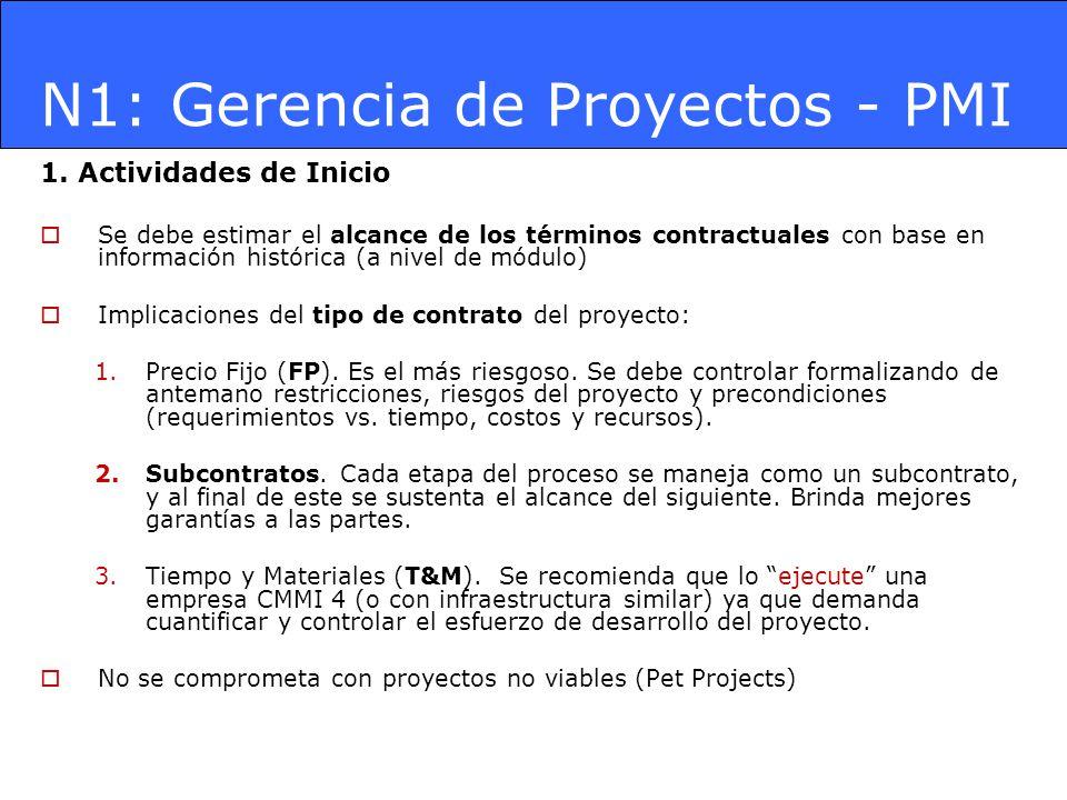 N1: Gerencia de Proyectos - PMI 1. Actividades de Inicio Se debe estimar el alcance de los términos contractuales con base en información histórica (a