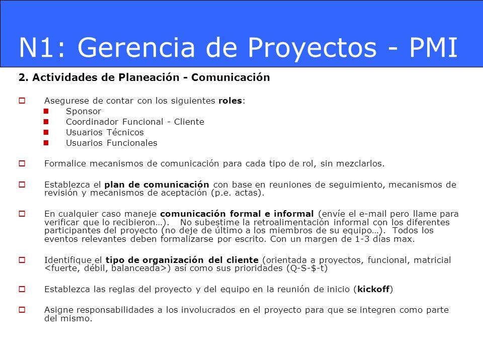 N1: Gerencia de Proyectos - PMI 2. Actividades de Planeación - Comunicación Asegurese de contar con los siguientes roles: Sponsor Coordinador Funciona