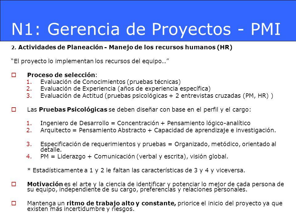 N1: Gerencia de Proyectos - PMI 2. Actividades de Planeación - Manejo de los recursos humanos (HR) El proyecto lo implementan los recursos del equipo.