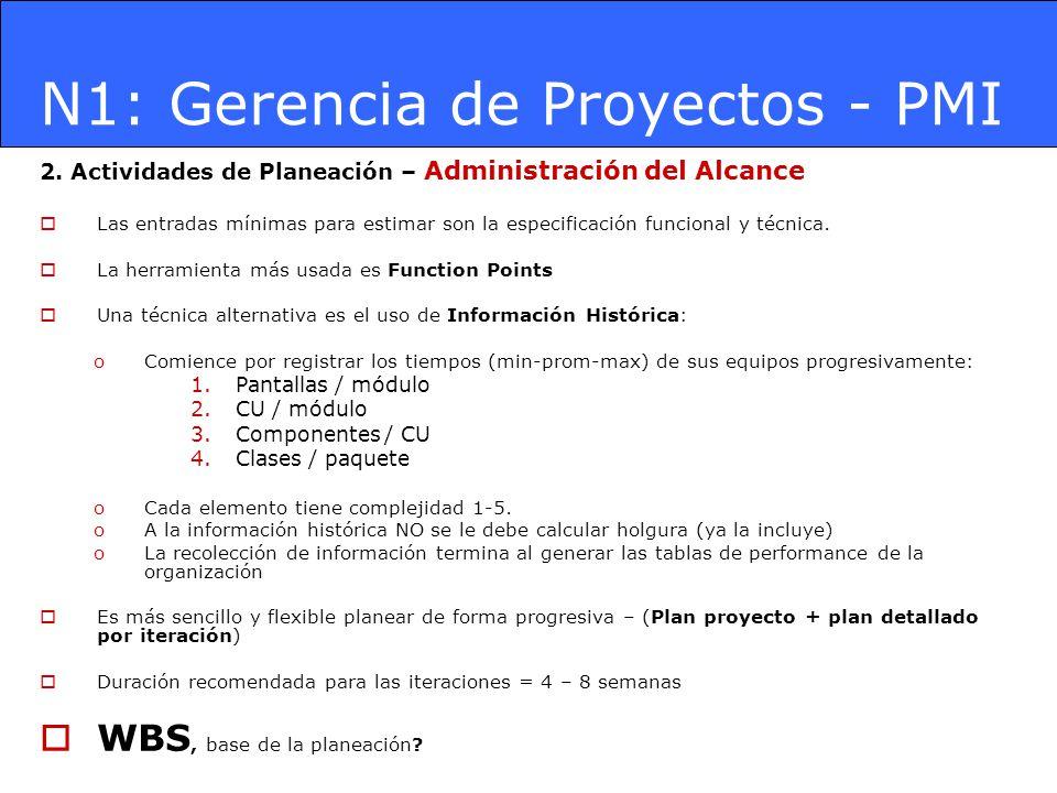 N1: Gerencia de Proyectos - PMI 2. Actividades de Planeación – Administración del Alcance Las entradas mínimas para estimar son la especificación func