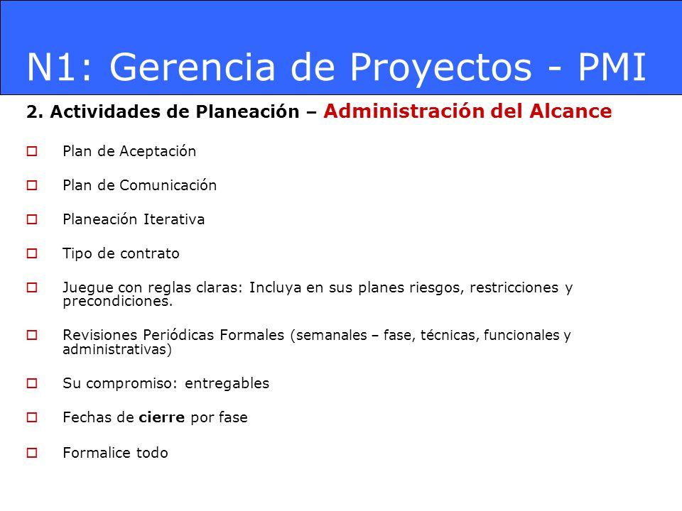 N1: Gerencia de Proyectos - PMI 2. Actividades de Planeación – Administración del Alcance Plan de Aceptación Plan de Comunicación Planeación Iterativa