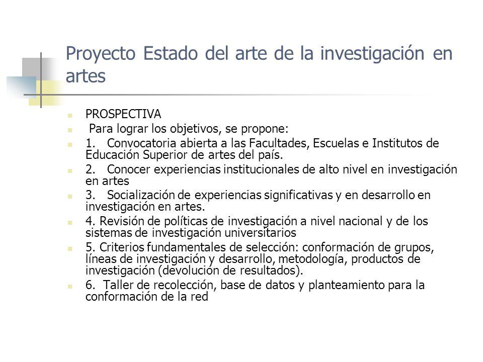 Proyecto Estado del arte de la investigación en artes PROSPECTIVA Para lograr los objetivos, se propone: 1.