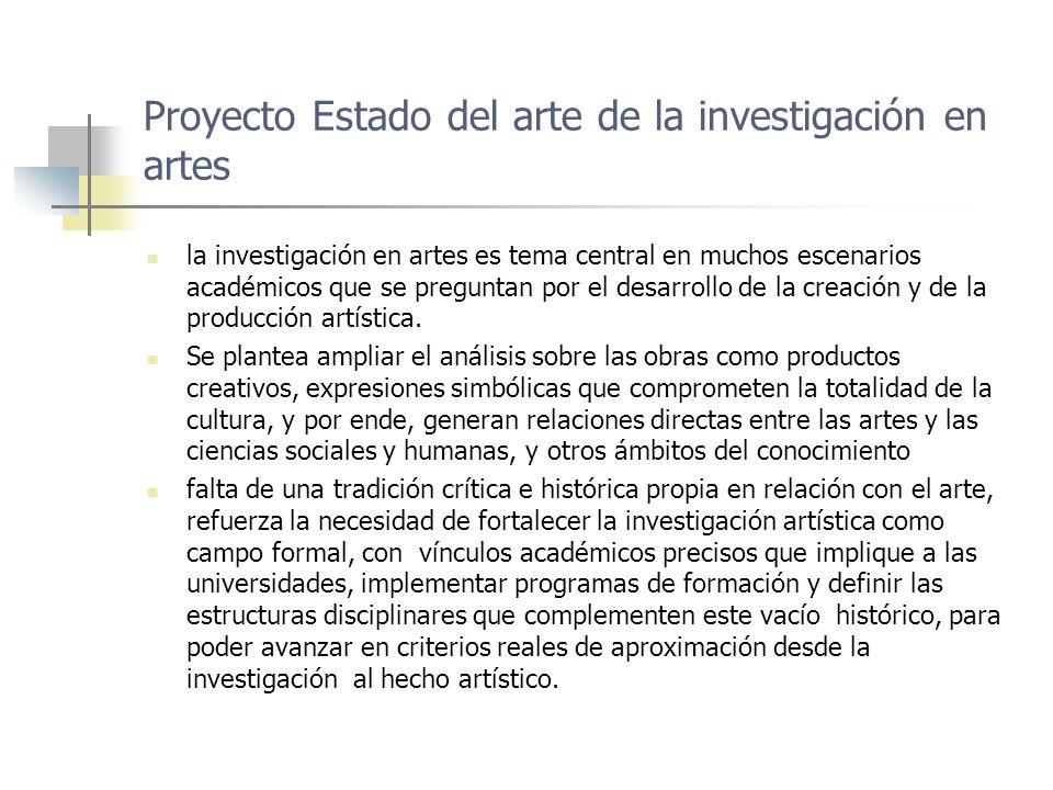 Proyecto Estado del arte de la investigación en artes Desde estos parámetros iniciales debemos preguntar entonces por: ¿Qué se entiende por investigación en artes?, ¿Cuál es el objeto de la investigación para el artista?, ¿Qué se propone la investigación en las artes?, ¿Cómo elaborar un proyecto de investigación en este campo?, ¿para qué la investigación artística.