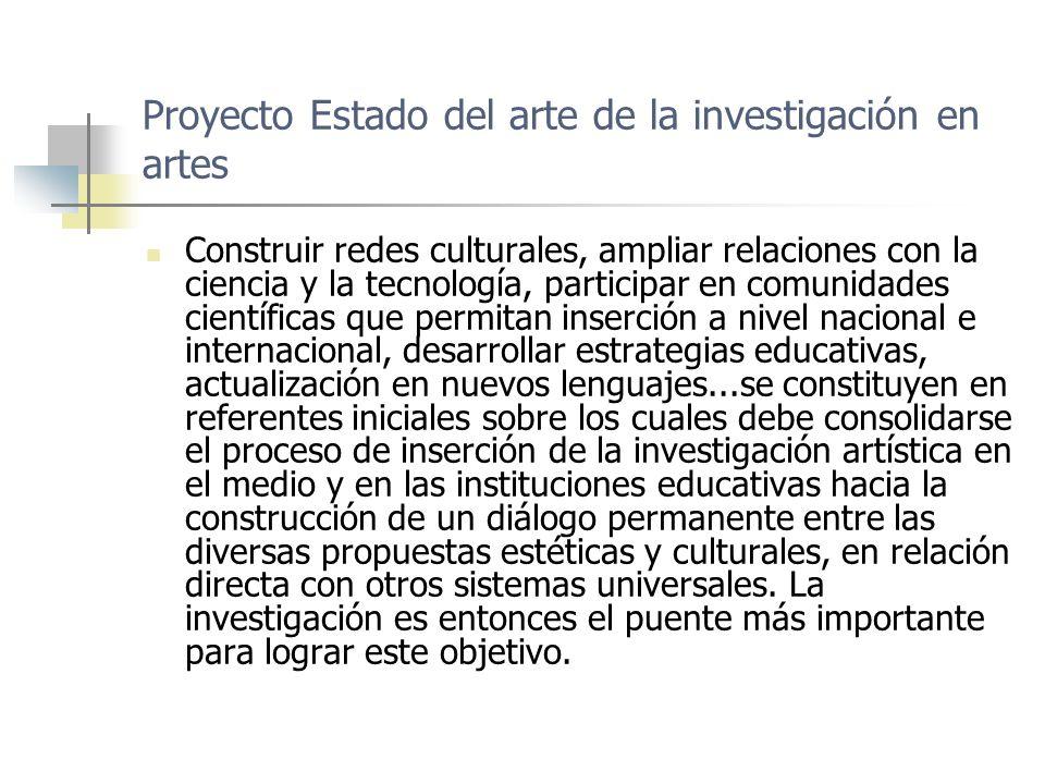 Proyecto Estado del arte de la investigación en artes Escenario 6 Socialización de Proceso metodológico en aplicación Línea investigación cultura, modelo para el análisis y la transferencia de experiencias en el sector arte y cultura Escenario 7 Sistema Nacional de Educación en Artes Asociación Colombiana de Facultades y Programas de Artes ACOFARTES