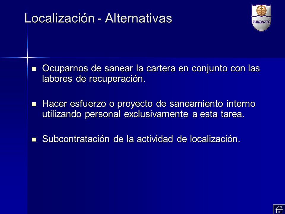Localización - Alternativas Ocuparnos de sanear la cartera en conjunto con las labores de recuperación. Ocuparnos de sanear la cartera en conjunto con