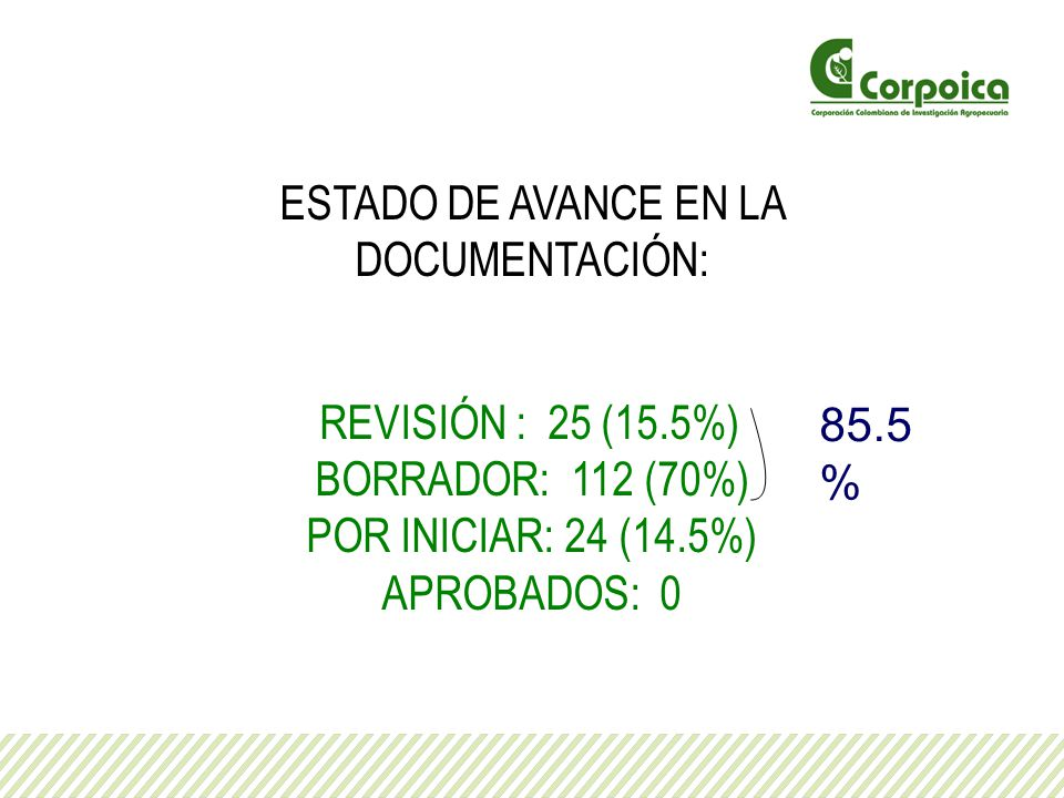 ESTADO DE AVANCE EN LA DOCUMENTACIÓN: REVISIÓN : 25 (15.5%) BORRADOR: 112 (70%) POR INICIAR: 24 (14.5%) APROBADOS: 0 85.5 %