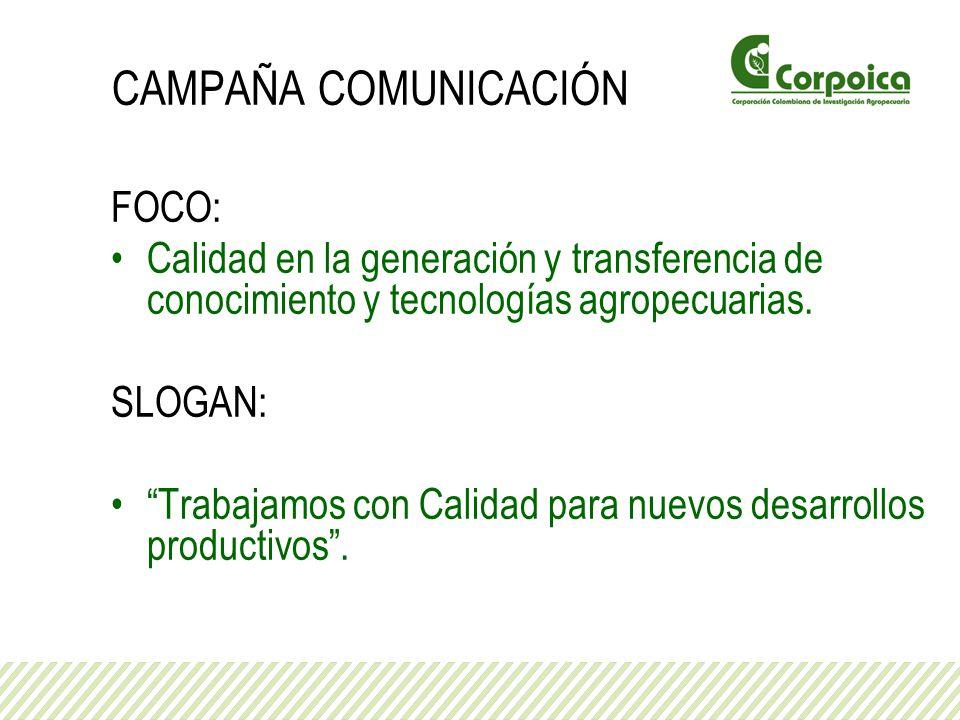 CAMPAÑA COMUNICACIÓN FOCO: Calidad en la generación y transferencia de conocimiento y tecnologías agropecuarias. SLOGAN: Trabajamos con Calidad para n