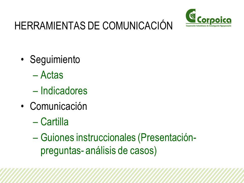 HERRAMIENTAS DE COMUNICACIÓN Seguimiento –Actas –Indicadores Comunicación –Cartilla –Guiones instruccionales (Presentación- preguntas- análisis de cas