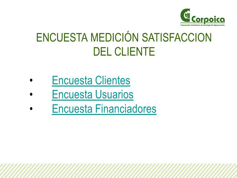 ENCUESTA MEDICIÓN SATISFACCION DEL CLIENTE Encuesta Clientes Encuesta Usuarios Encuesta Financiadores