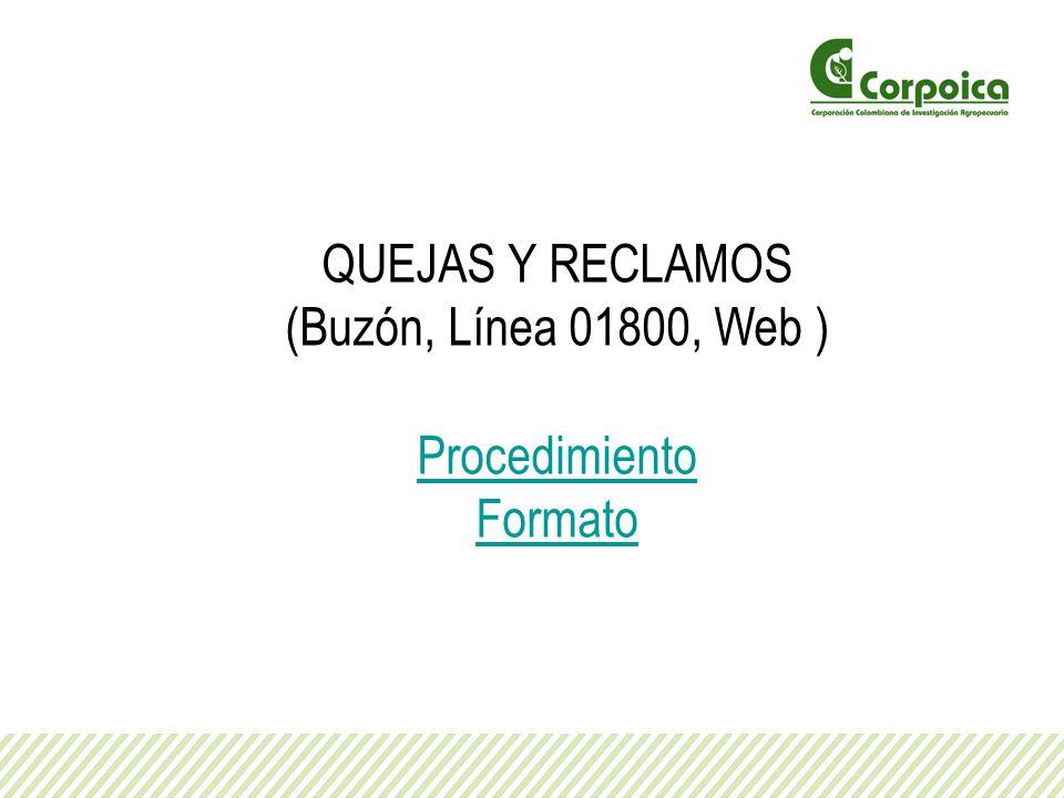 QUEJAS Y RECLAMOS (Buzón, Línea 01800, Web ) Procedimiento Formato
