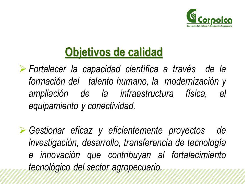 Objetivos de calidad Fortalecer la capacidad científica a través de la formación del talento humano, la modernización y ampliación de la infraestructu