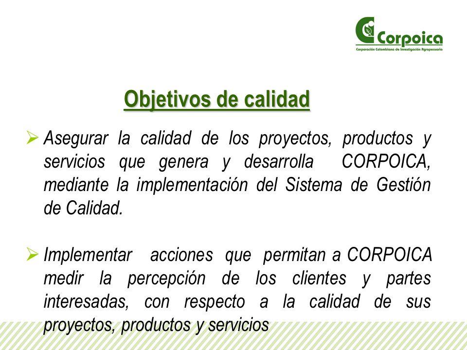 Objetivos de calidad Asegurar la calidad de los proyectos, productos y servicios que genera y desarrolla CORPOICA, mediante la implementación del Sist