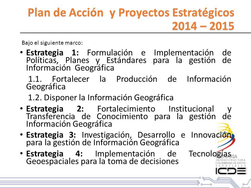 Plan de Acción y Proyectos Estratégicos 2014 – 2015 Estrategia 1: Formulación e Implementación de Políticas, Planes y Estándares para la gestión de Información Geográfica 1.1.