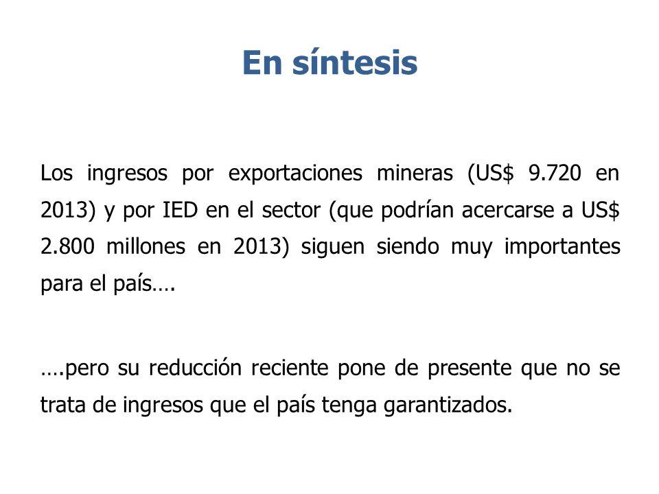 En síntesis Los ingresos por exportaciones mineras (US$ 9.720 en 2013) y por IED en el sector (que podrían acercarse a US$ 2.800 millones en 2013) sig