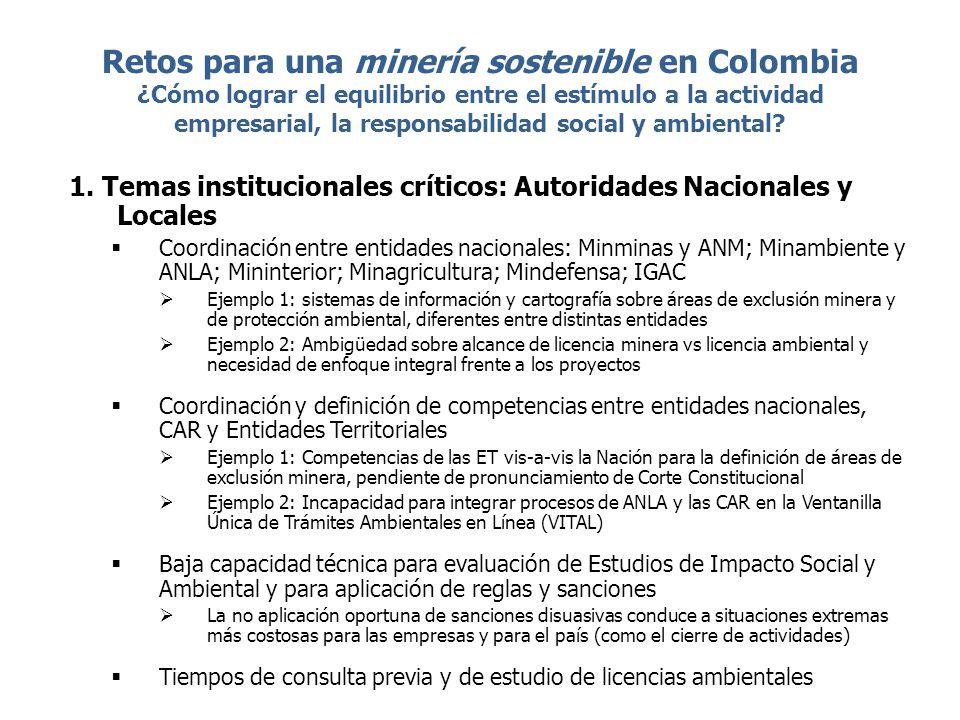 Retos para una minería sostenible en Colombia ¿Cómo lograr el equilibrio entre el estímulo a la actividad empresarial, la responsabilidad social y amb