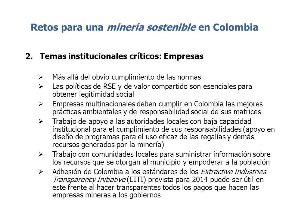 Retos para una minería sostenible en Colombia 2.Temas institucionales críticos: Empresas Más allá del obvio cumplimiento de las normas Las políticas d