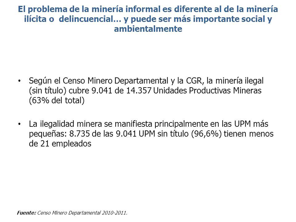 El problema de la minería informal es diferente al de la minería ilícita o delincuencial… y puede ser más importante social y ambientalmente Según el