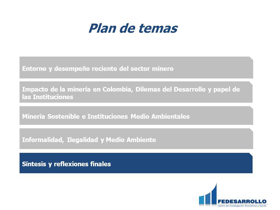 Entorno y desempeño reciente del sector minero Impacto de la minería en Colombia, Dilemas del Desarrollo y papel de las Instituciones Informalidad, Il