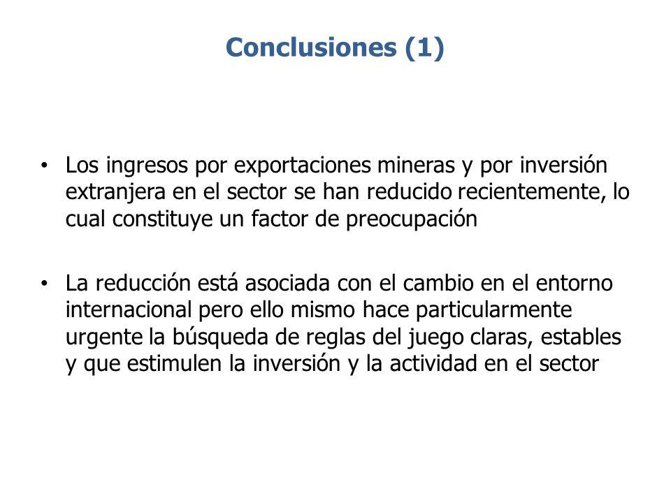 Conclusiones (1) Los ingresos por exportaciones mineras y por inversión extranjera en el sector se han reducido recientemente, lo cual constituye un f