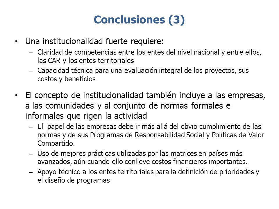 Conclusiones (3) Una institucionalidad fuerte requiere: – Claridad de competencias entre los entes del nivel nacional y entre ellos, las CAR y los ent