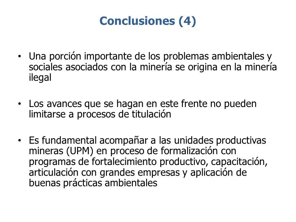 Conclusiones (4) Una porción importante de los problemas ambientales y sociales asociados con la minería se origina en la minería ilegal Los avances q