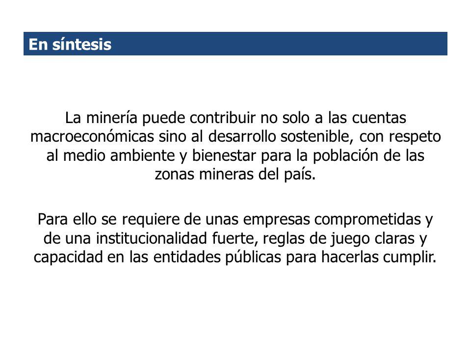 En síntesis La minería puede contribuir no solo a las cuentas macroeconómicas sino al desarrollo sostenible, con respeto al medio ambiente y bienestar