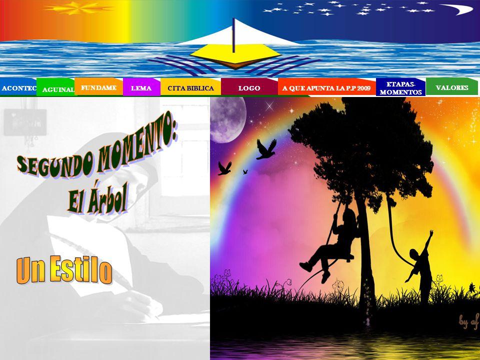 EL PROYECTO EDUCATIVO - PASTORAL SALESIANO (PEPS) ACONTECI AGUINAL FUNDAME LEMA CITA BIBLICA ETAPAS- MOMENTOS VALORES LOGOA QUE APUNTA LA P.P 2009