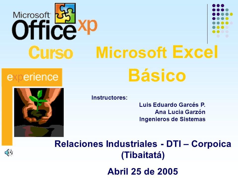 Microsoft Excel Básico Relaciones Industriales - DTI – Corpoica (Tibaitatá) Abril 25 de 2005 Instructores: Luis Eduardo Garcés P. Ana Lucia Garzón Ing