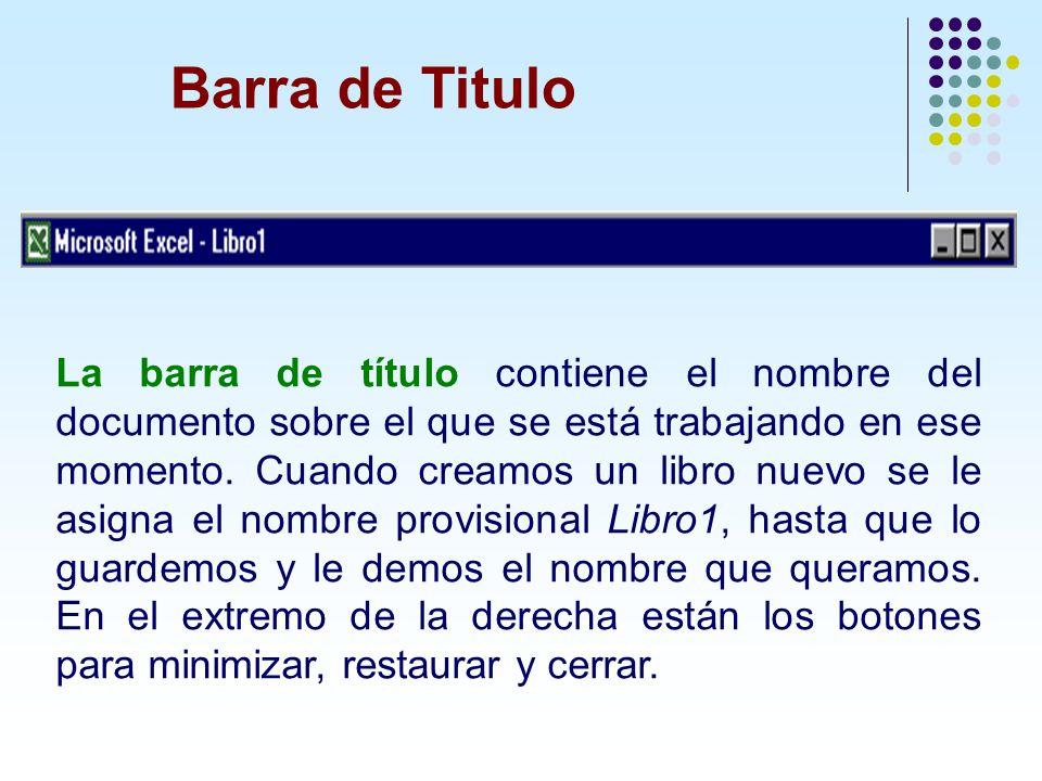 Barra de Titulo La barra de título contiene el nombre del documento sobre el que se está trabajando en ese momento. Cuando creamos un libro nuevo se l