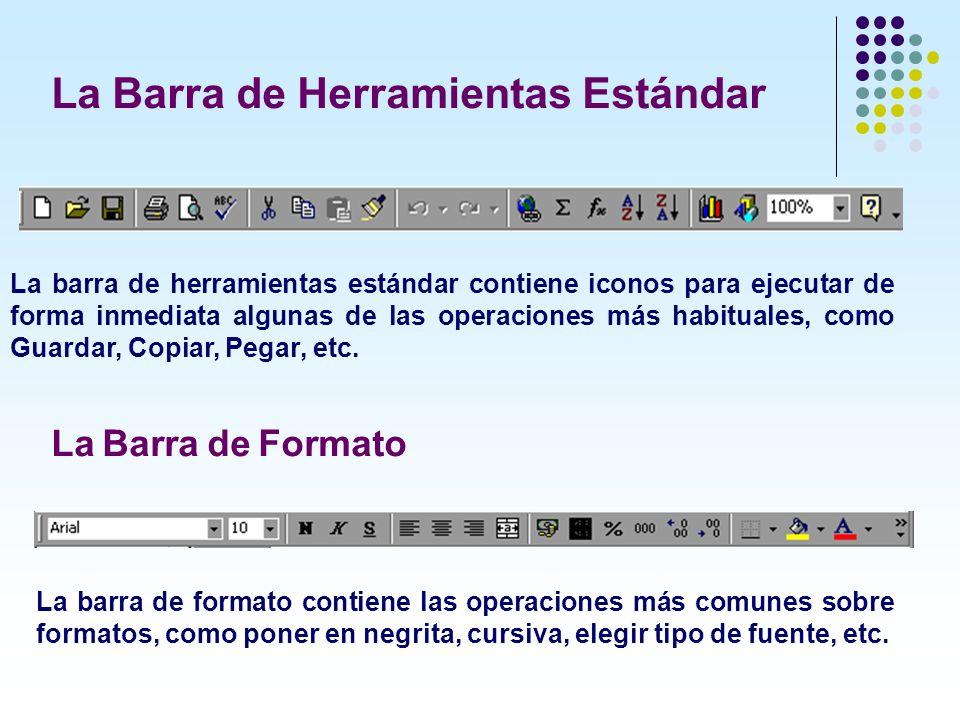 La barra de herramientas estándar contiene iconos para ejecutar de forma inmediata algunas de las operaciones más habituales, como Guardar, Copiar, Pe