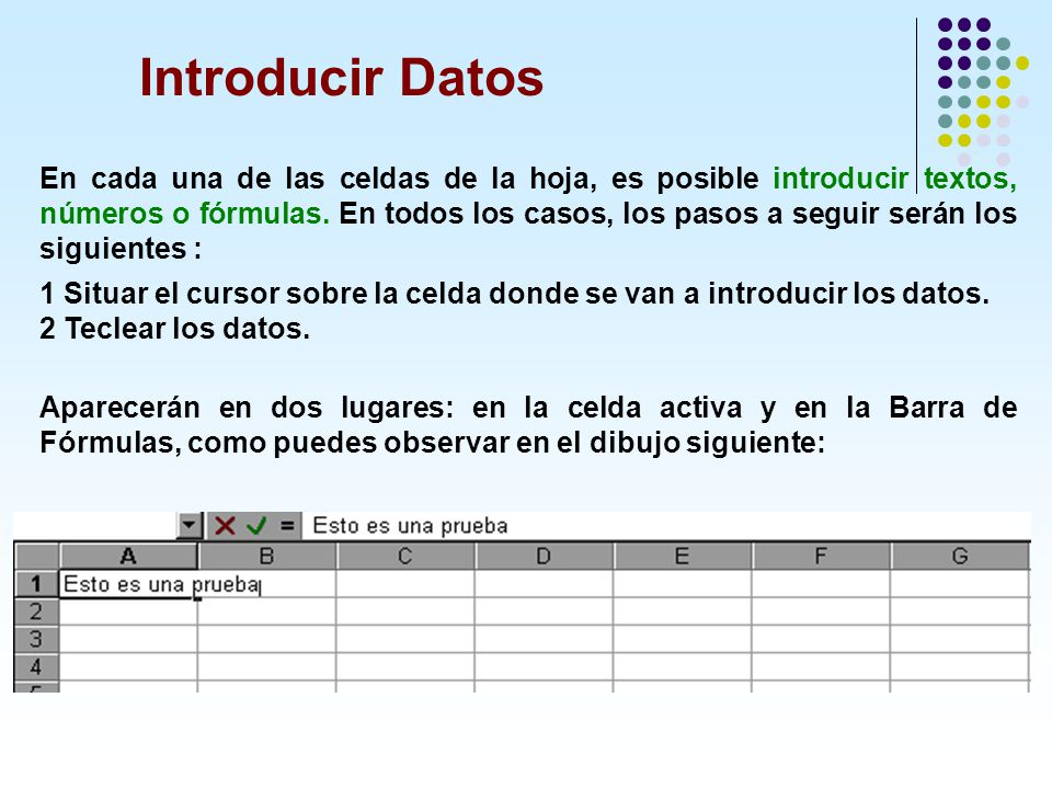 Introducir Datos En cada una de las celdas de la hoja, es posible introducir textos, números o fórmulas. En todos los casos, los pasos a seguir serán