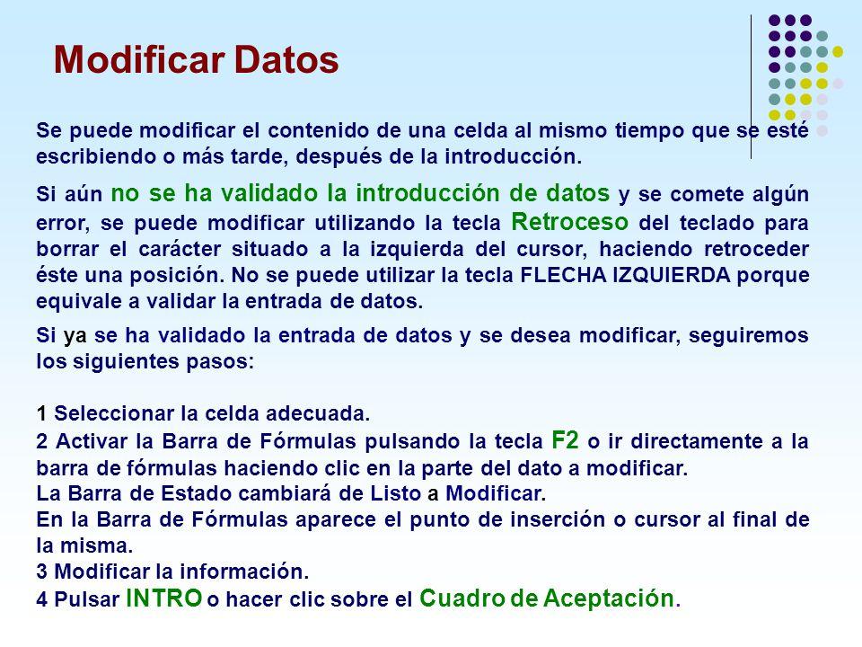 Modificar Datos Se puede modificar el contenido de una celda al mismo tiempo que se esté escribiendo o más tarde, después de la introducción. Si aún n