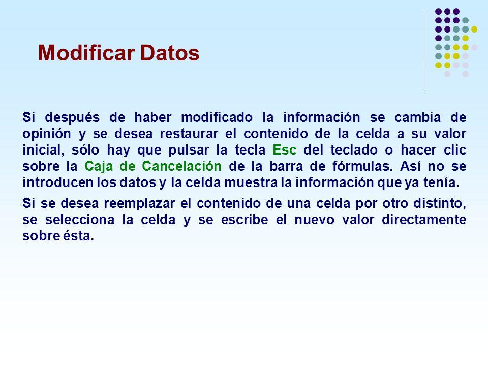 Modificar Datos Si después de haber modificado la información se cambia de opinión y se desea restaurar el contenido de la celda a su valor inicial, s