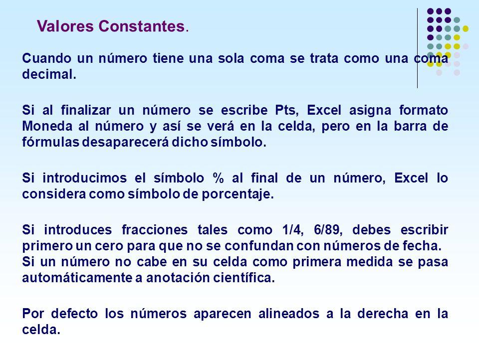 Cuando un número tiene una sola coma se trata como una coma decimal. Si al finalizar un número se escribe Pts, Excel asigna formato Moneda al número y
