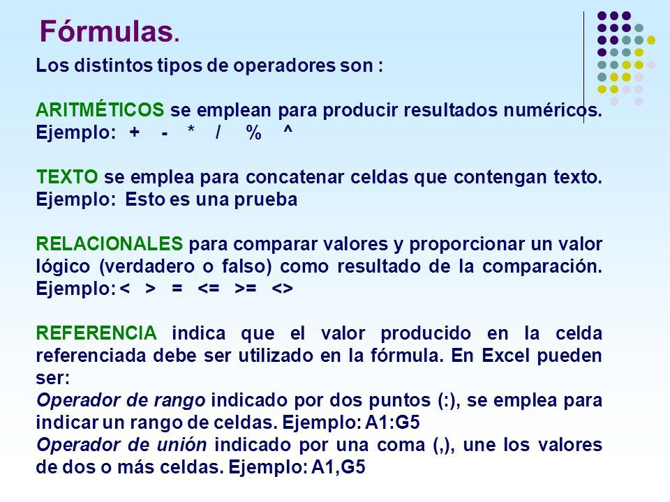 Los distintos tipos de operadores son : ARITMÉTICOS se emplean para producir resultados numéricos. Ejemplo: + - * / % ^ TEXTO se emplea para concatena