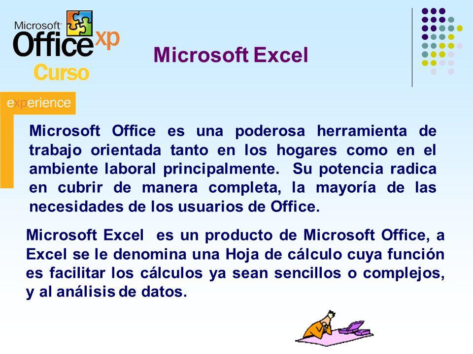 Microsoft Excel Microsoft Excel es un producto de Microsoft Office, a Excel se le denomina una Hoja de cálculo cuya función es facilitar los cálculos