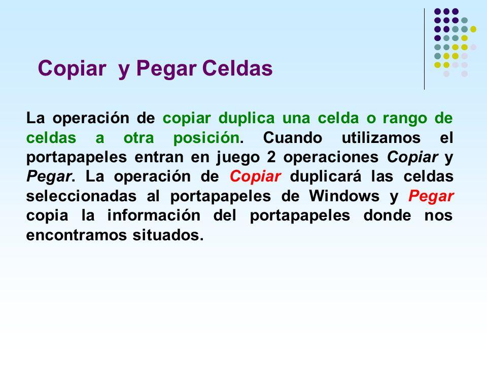 Copiar y Pegar Celdas La operación de copiar duplica una celda o rango de celdas a otra posición. Cuando utilizamos el portapapeles entran en juego 2