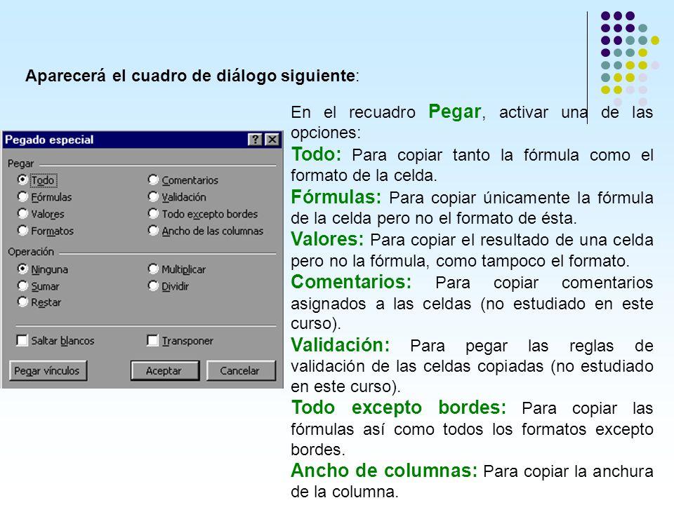 Aparecerá el cuadro de diálogo siguiente: En el recuadro Pegar, activar una de las opciones: Todo: Para copiar tanto la fórmula como el formato de la