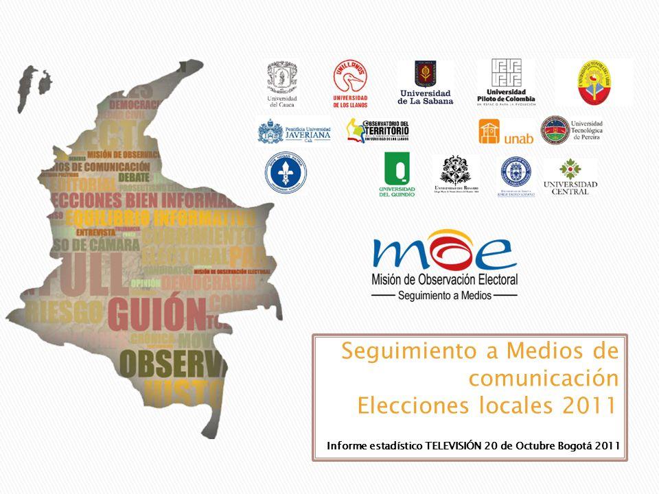 Este análisis es del monitoreo efectuado desde el 17 de agosto (fecha de modificación de candidaturas) hasta el 12 de octubre 2011 Monitoreo de las notas periodísticas sobre el proceso electoral.