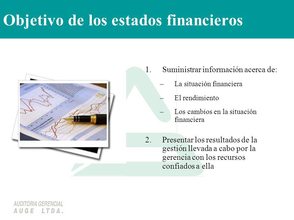 Bases de preparación Base de acumulación o devengo –Las transacciones se reconocen cuando ocurren no cuando se mueve el efectivo Negocio en marcha –Se espera que la empresa siga funcionando.