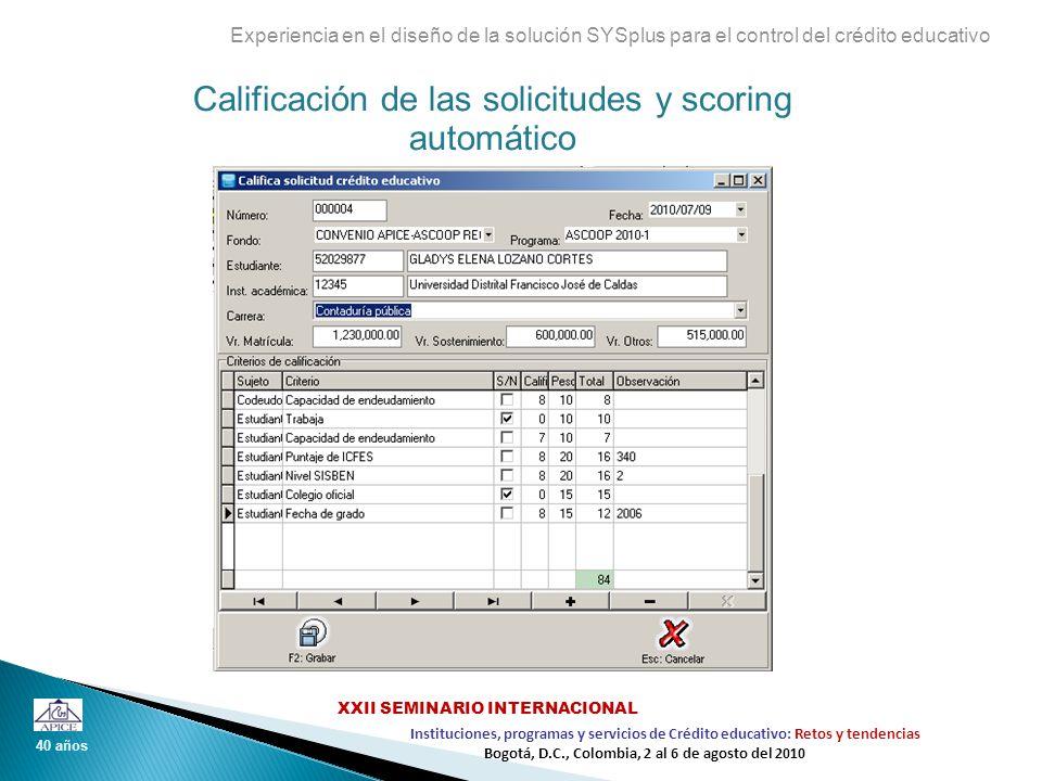 Calificación de las solicitudes y scoring automático Experiencia en el diseño de la solución SYSplus para el control del crédito educativo 40 años Ins