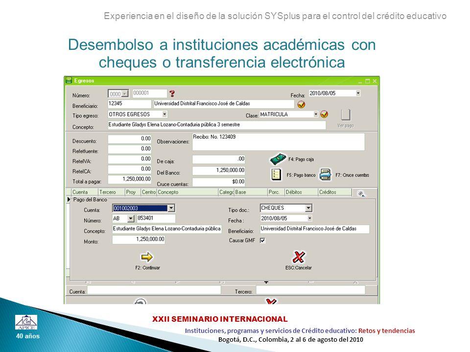 Desembolso a instituciones académicas con cheques o transferencia electrónica Experiencia en el diseño de la solución SYSplus para el control del créd