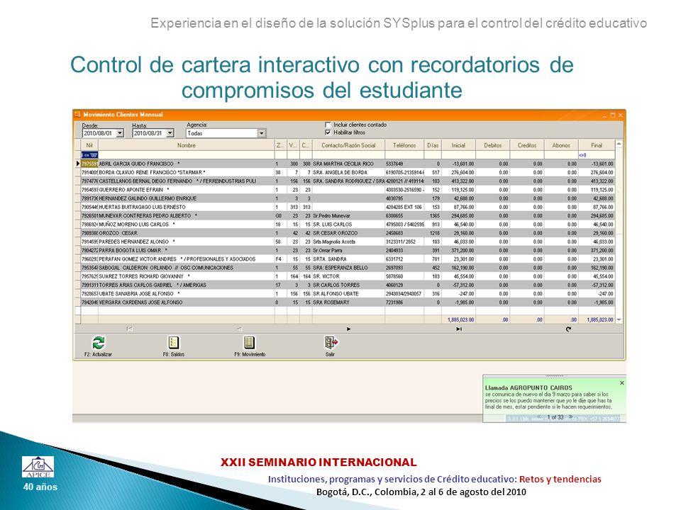 Control de cartera interactivo con recordatorios de compromisos del estudiante Experiencia en el diseño de la solución SYSplus para el control del cré