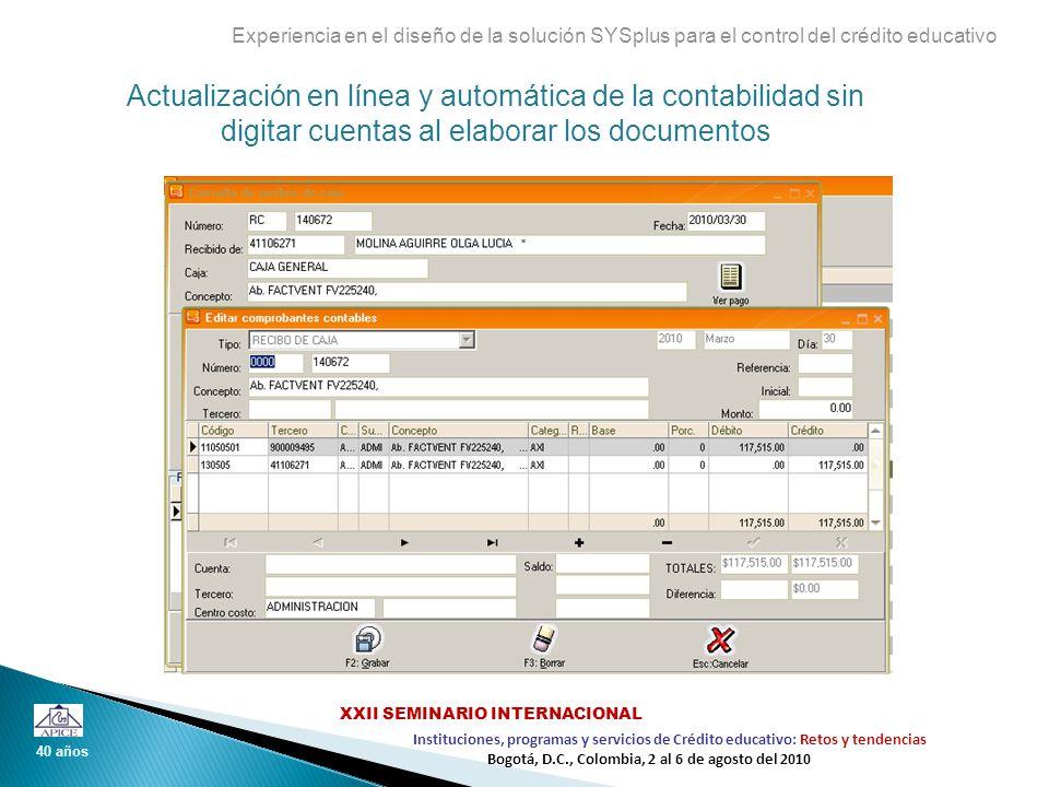 Actualización en línea y automática de la contabilidad sin digitar cuentas al elaborar los documentos Experiencia en el diseño de la solución SYSplus