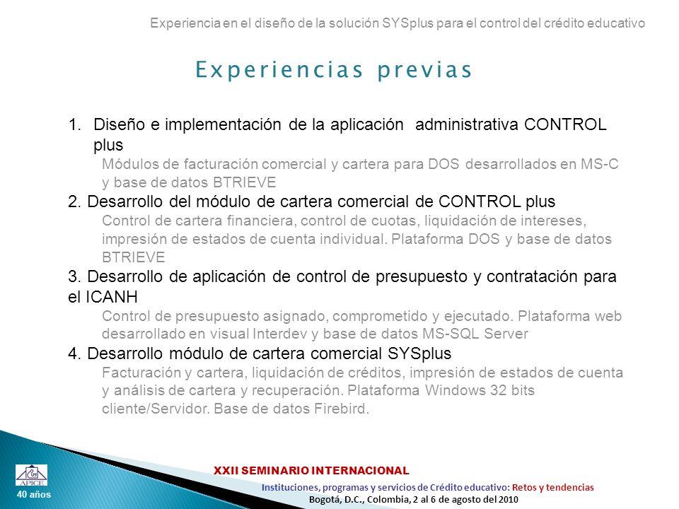 Visita domiciliaria con datos personalizables y evaluación Experiencia en el diseño de la solución SYSplus para el control del crédito educativo 40 años Instituciones, programas y servicios de Crédito educativo: Retos y tendencias XXII SEMINARIO INTERNACIONAL Bogotá, D.C., Colombia, 2 al 6 de agosto del 2010