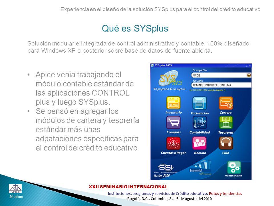 Qué es SYSplus Experiencia en el diseño de la solución SYSplus para el control del crédito educativo Apice venia trabajando el módulo contable estánda
