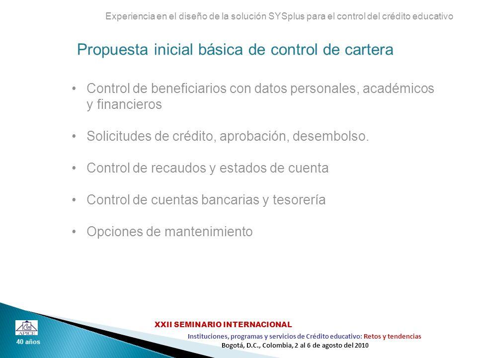 Propuesta inicial básica de control de cartera Experiencia en el diseño de la solución SYSplus para el control del crédito educativo Control de benefi