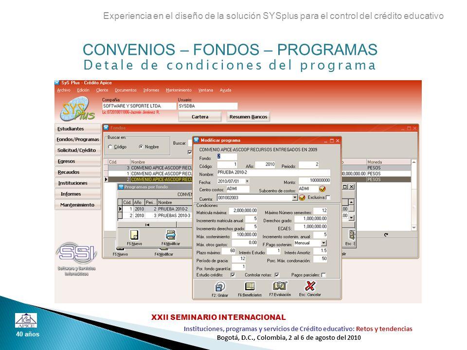 Beneficiarios por programa Experiencia en el diseño de la solución SYSplus para el control del crédito educativo 40 años Instituciones, programas y servicios de Crédito educativo: Retos y tendencias XXII SEMINARIO INTERNACIONAL Bogotá, D.C., Colombia, 2 al 6 de agosto del 2010 Criterios de evaluación